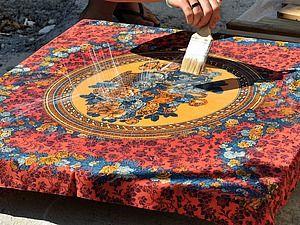 Новая жизнь старого платка, или Стол с платочной столешницей   Ярмарка Мастеров - ручная работа, handmade
