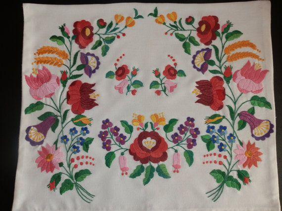 Pillow handmede embroidery Hungarian Kalocsa by macaristanbul, $50.00