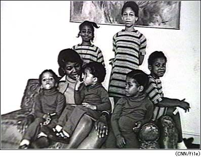 Betty Shabazz and daughters: Attallah, Qubilah, Ilyasah, Bamilah Lumumba, and twins, Malikah & Malaak.
