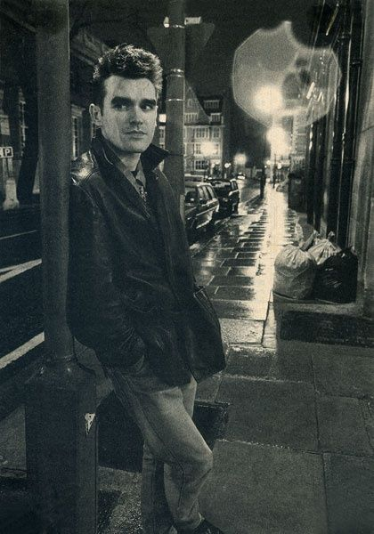 Morrissey as stereotypical 80's dope dealer, just waiting on a client (which is something dope dealers will never do - wait)
