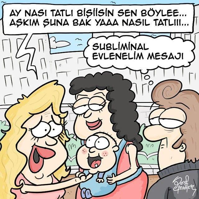 + Ay nası tatlı bişiisin sen böylee... Aşkım suna bak yaaa nasıl tatlııı... - Subliminal evlenelim mesajı  #karikatür #mizah #matrak #komik #espri