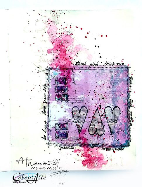 Me and myself...: Think Pink - art journal page for Breast Cancer Awareness