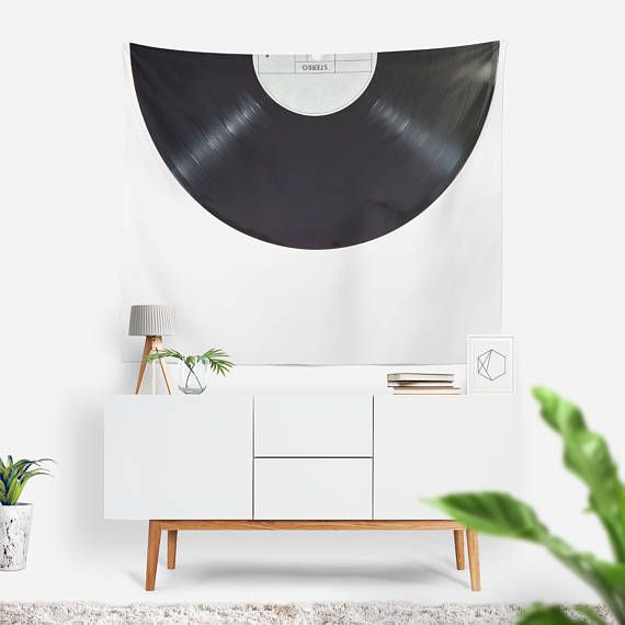 Record Wall Tapestry   Wall Hanging   Vinyl Record   Black & White Tapestry   Retro Wall Tapestry   Extra Large Wall Art   Music Lovers