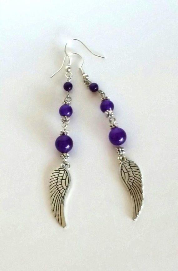 Purple Onyx Earrings  Natural Stone Earrings  Dangling