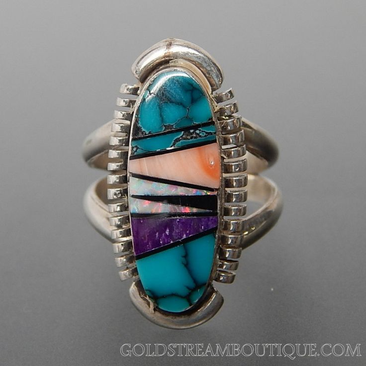 NATIVE AMERICAN TURQUOISE OPAL SUGILITE BLACK JET & SPINY OYSTER MOSAIC INLAY STERLING SILVER OVAL RING - SIZE 4.75 – Gold Stream Boutique