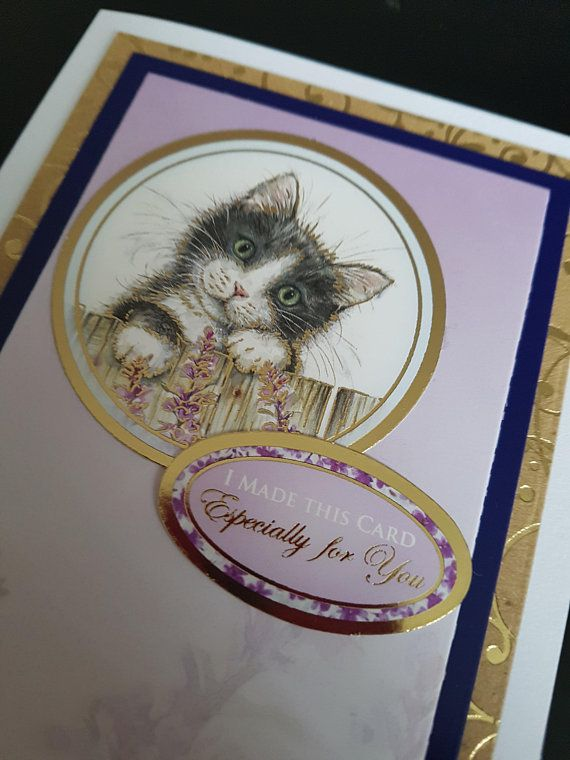 """Kitten with hearts /""""Especially for you!/"""" Card"""