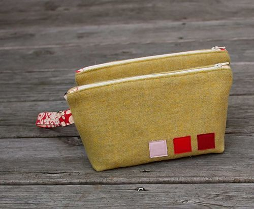 wool bag with 3 felt squares