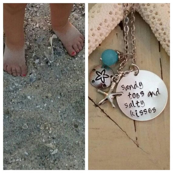 Sandy Toes And Salty Kisses Handstamped Necklace by SeaLifeSparkle
