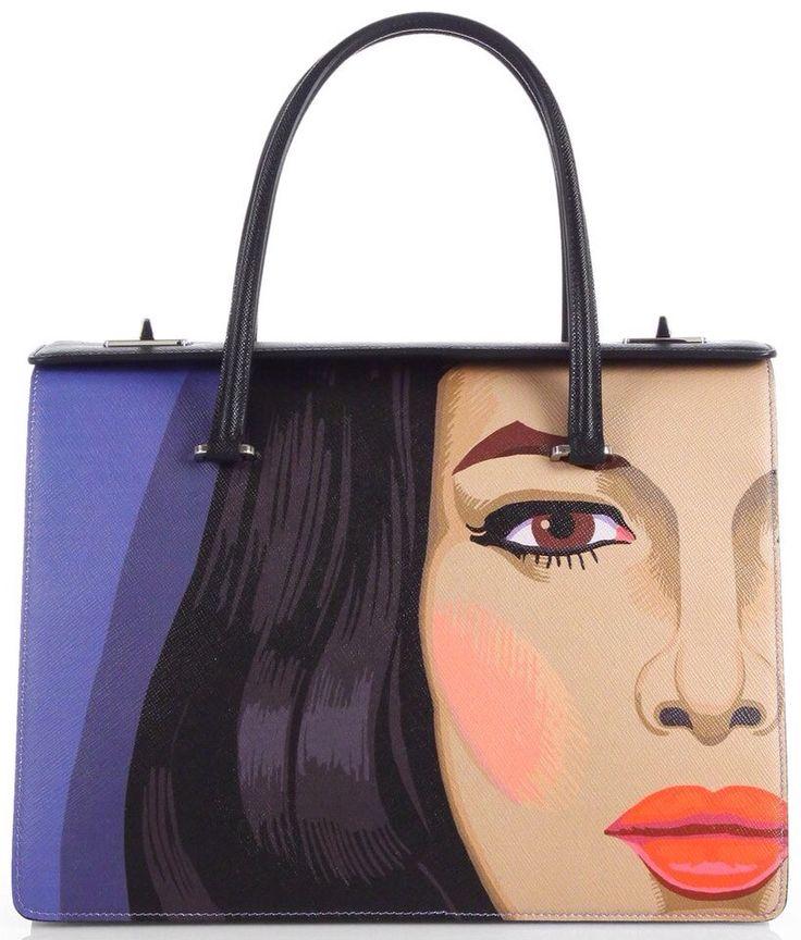 Prada Violet Saffiano Faceprint Top Handle Shopper