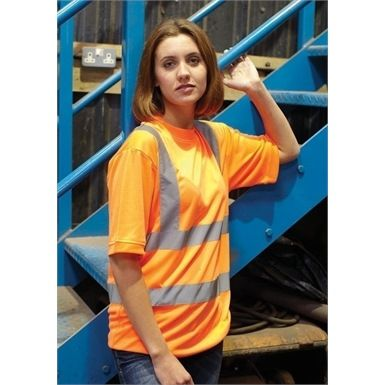 Stay cool, comfortable and safe in this Yoko HVJ410 Ladies Hi Vis Short Sleeve T Shirt.  Comes in a choice of two colours that conform to either GO/RT3279 orange t shirt or EN471 Class 2 yellow t shirt.