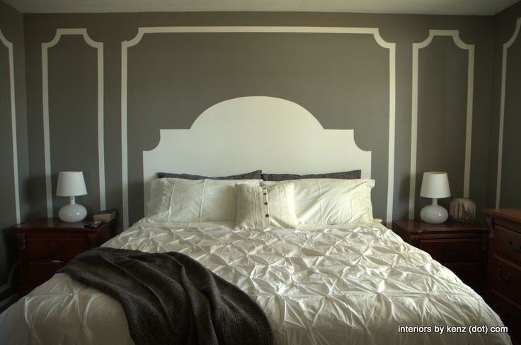 HOW TO PAINT A HEADBOARD ON THE WALL - PAINTED HEADBOARD ON THE WALL (hoh127)