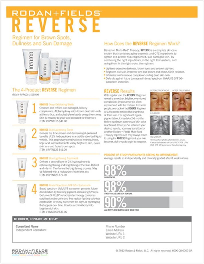 RODAN AND FIELDS REVERSE DETAILS! I use REVERSE and it is remarkable! I do not remember the last time my skin was so beautiful! Please contact me at whinnant.myrandf.com if you are interested in products or if you are interested in starting your own business please contact me at whinnant.myrandf.biz