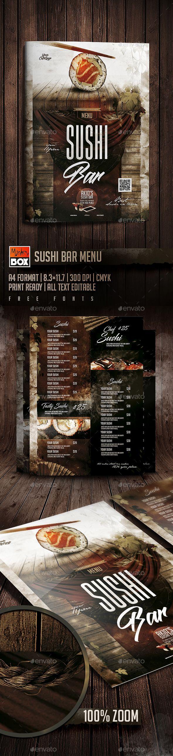 Sushi Bar Menu — Photoshop PSD #sushi #japanese food menu • Download ➝ https://graphicriver.net/item/sushi-bar-menu/19739766?ref=pxcr
