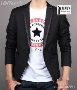 blazer pria korea slimfit warna hitam lis hitam dengan model yang trendy dipakai formal maupun santai