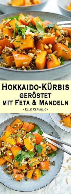 Rezept für Hokkaido-Kürbis geröstet mit Feta, Kräuter, Mandeln und Zitrone. Die Kombination ist einfach OBERLECKER! Ein gesundes und leckeres Rezept für Hokkaido-Kürbis geröstet mit Feta. Dazu gibt es Mandeln und Kräuter. Das Rezept ist eine tolle Beilage für jedes Festessen. #herbst #kürbis #rezept #Vegetarisch und natürlich #glutenfrei. - Elle Republic