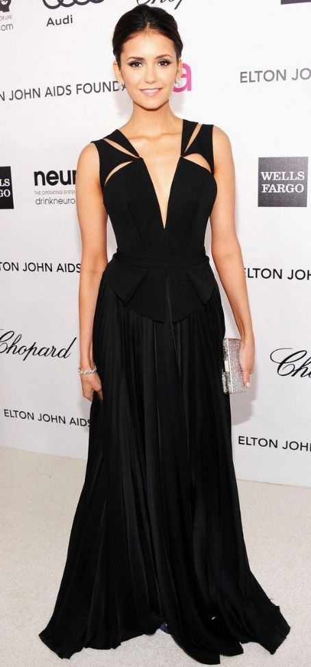 Nina Dobrev in J. Mendel at the 2012 Elton John AIDS Foundation Academy Awards Viewing Party