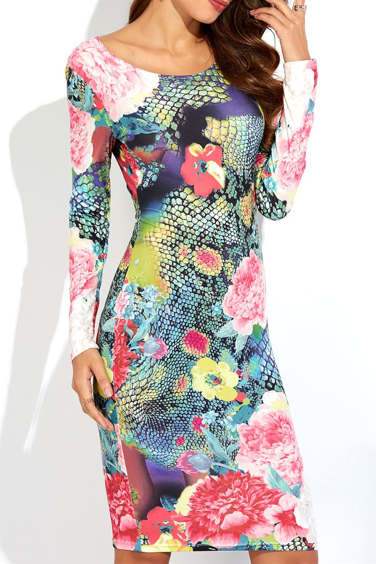 $15.23 3D Floral Print Slimming Dress