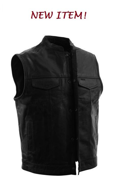 Mens One Panel Concealment Motorcycle Vest by First Mfg. http://www.mymotorcycleclothing.com/