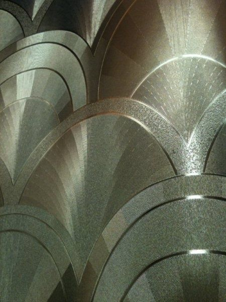 *Art Deco wall paper Chosen for its beautiful silver and metallic pattern.