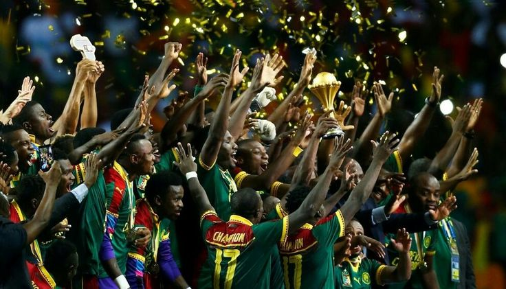 Cameroon celebrate with the trophy after winning the African Cup of Nations AMR ABDALLAH DALSH/REUTERS