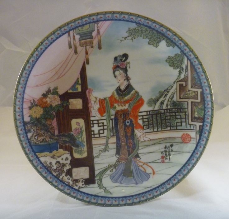 """1986 - Beauties of the Red Mansionby   - #3 Hsi-fengnamed also in story:王熙凤orWang Xifenghaving the meaningSplendid Phoenix Beauties of the Red Mansionby Zhao HuiMin 8.5""""   Jingdezhen Porcelain"""