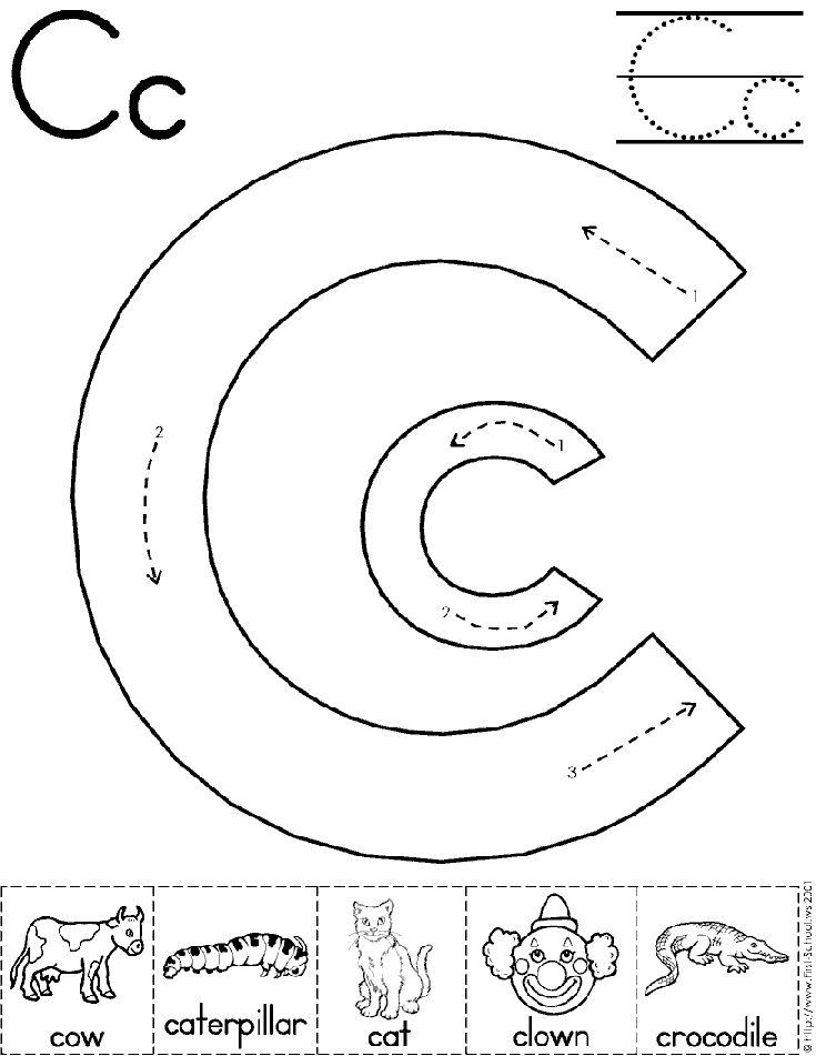 alphabet letter c worksheet preschool printable activity traditional block manuscript. Black Bedroom Furniture Sets. Home Design Ideas