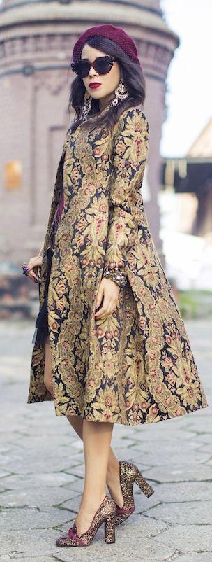 Brown Multi Printed Coat by Macademian Girl