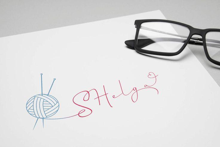 "SHelga ""Научу вязать просто и со вкусом!""  #Abstract #logo #design #леттеринг #znak #знак #логотип #лого #символ #каллиграфия #handmade #knitting #вязание #calligraphy #Lettering #sewing #шитье #love"