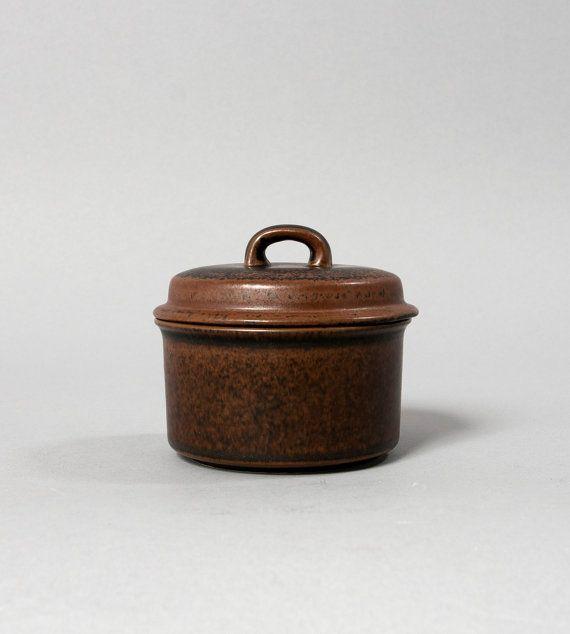 arabia sugar jar with lid finland ulla procope ruska brown retro mid century scandinavian on Etsy, $45.00