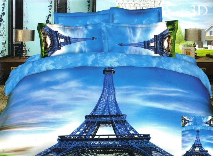 Wieża Eiflla pościel na łóżko 3D w kolorze niebieskim