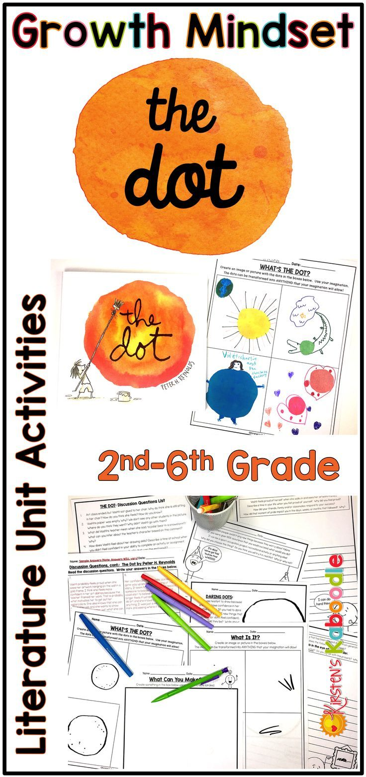Are you teaching your students about growth mindset? The Dot by Peter H. Reynolds is a perfect picture book for teachers who want to provide fun instruction on the role of taking risks in growth mindset and fixed mindset perspectives. This fun, easy to use literature unit is the perfect companion for use with your students on International Dot Day as well!