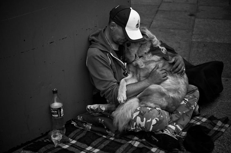a homeless man with a dog evokes more sympathy from passerby than a homeless man alone