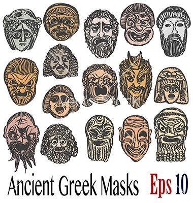 37 best images about my vector on pinterest astronauts for Ancient greek mask template