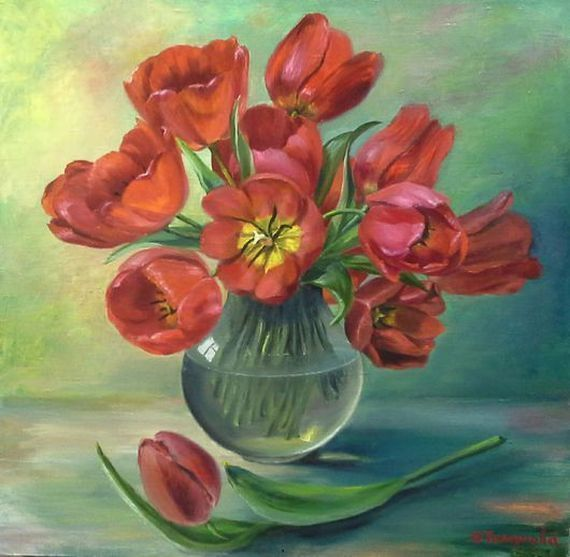 """Oil painting""""Tulips in a vase"""", Canvas Painting, Handmade art, still life."""