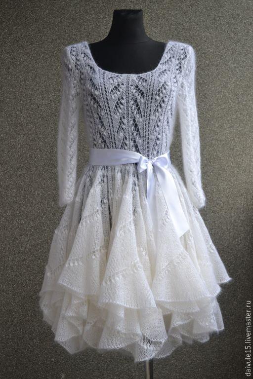 Купить платье ажурное вязаное - пушистая, вязание спицами, вязаное платье, вязание на заказ, мохер
