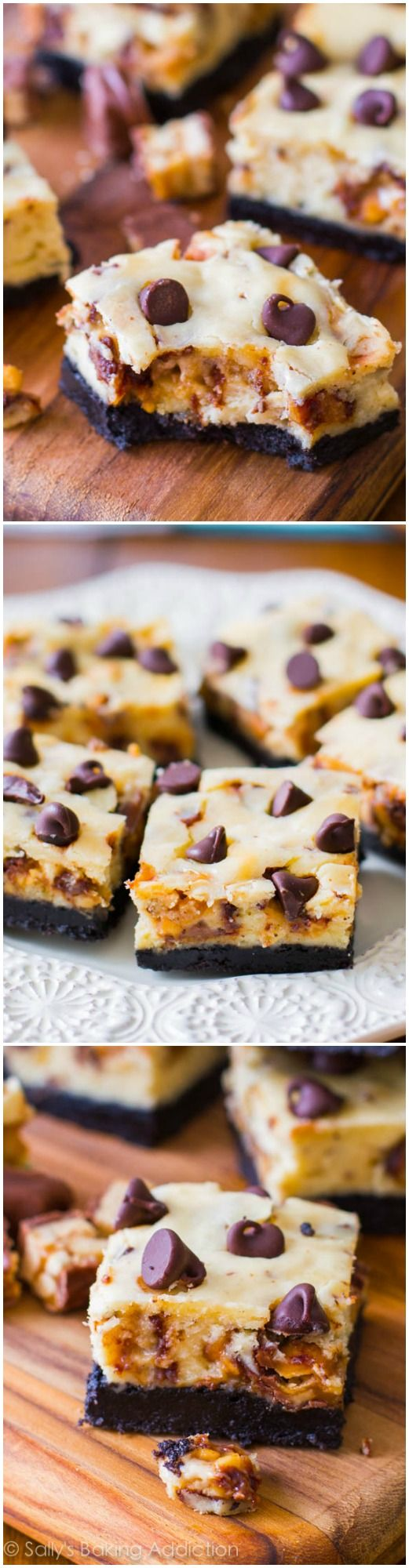 8 Ingredient Snickers Cheesecake Bars - no one can resist these!