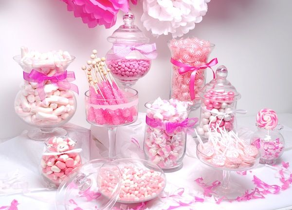 Poppin' in Pink and white Candy Bar - Candy Buffet 101  Imagine a touch of lace or bling as an accent!  destinationweddings.travel