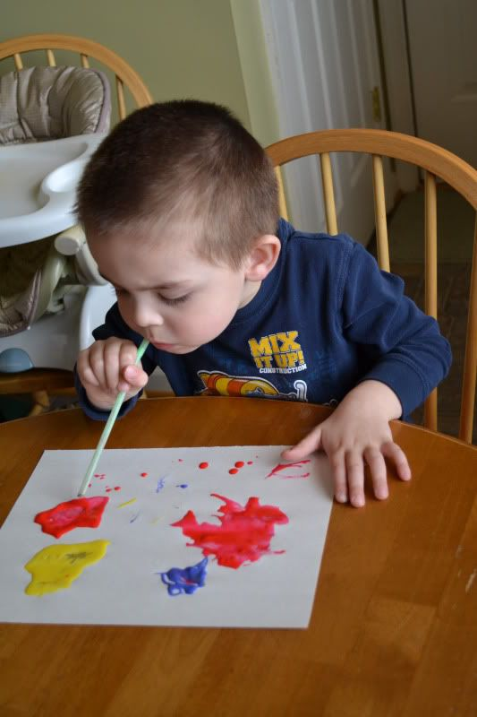 weather unit- wind painting. This comes from a great blog with lots of educational but fun crafty activities for little ones.