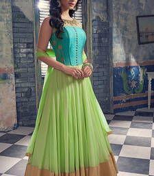 Buy Sky Blue  and  Light Green Georgette Print semi_stitched salwar with dupatta anarkali-salwar-kameez online
