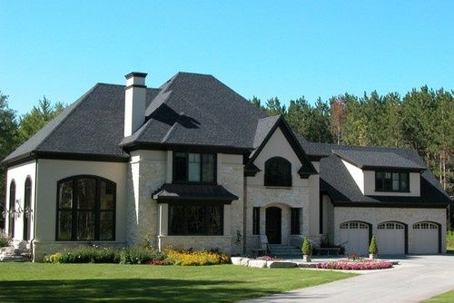 Black window trim on stucco and stone google search for Black roof house