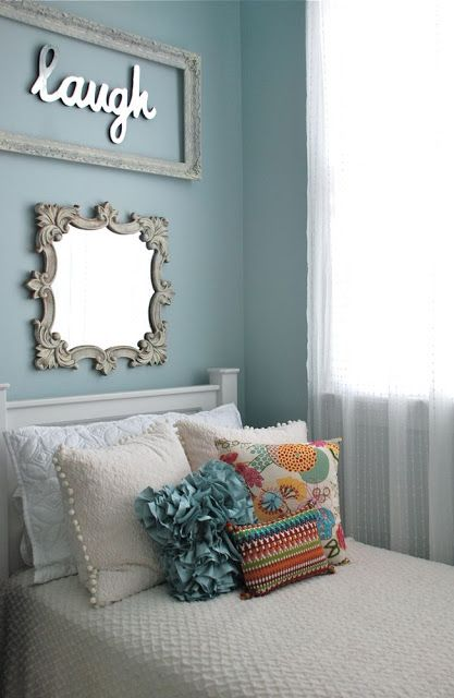 """Cute Bedroom. I love the framed mirror words. Not one of those""""costs the moon"""" kids' bedrooms. Ingenuity, creativity, and DIY rather than a home equity loan produced this sweet little girl's room."""