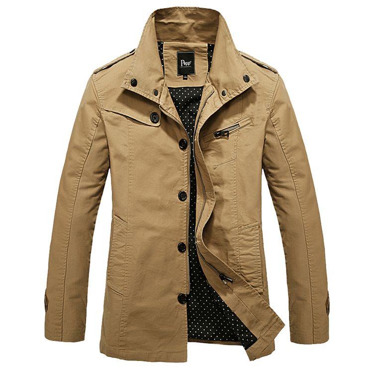 Khaki/Black Spring/Autumn Casual Fashion Jackets Men's Brand Slim Fit Jackets Male Motorcycle Zipper Coats Men M~3XL J059(China (Mainland))