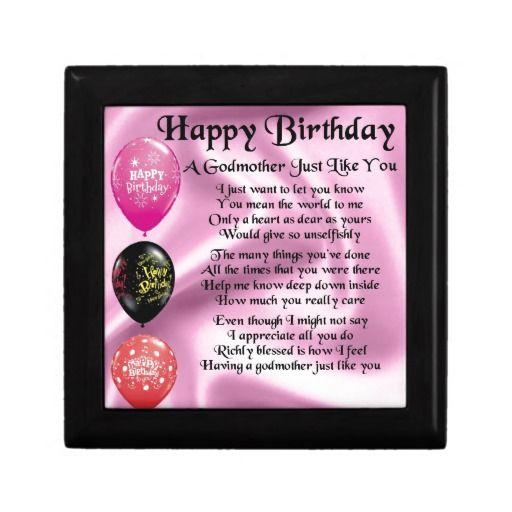 Godmother poem - Happy Birthday Design Gift Box