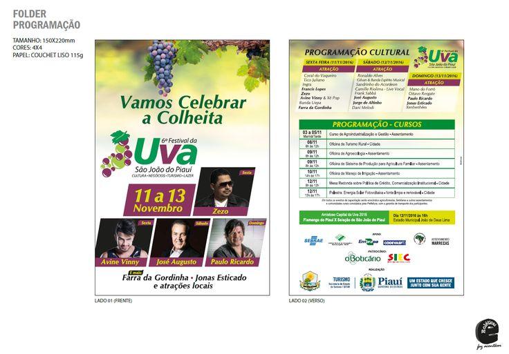 Layout Folder Programação VI Festival da Uva São João do Piauí - Cliente Gov. do Piauí