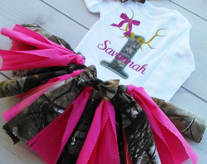 1st Birthday - First Birthday Tutu - Pink and Camo Tutu - Baby Girl Personalized Pink Glitter Bodysuit - Gold Glitter Baby Girl Tutu