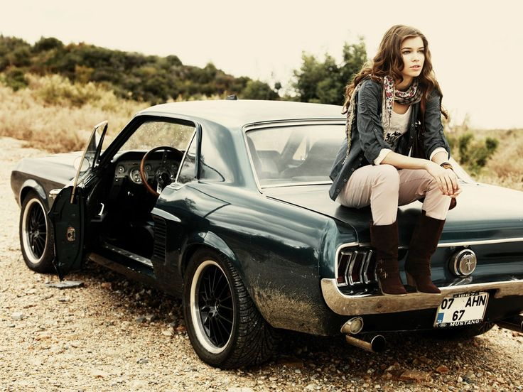 beautiful girl and nice vintage car