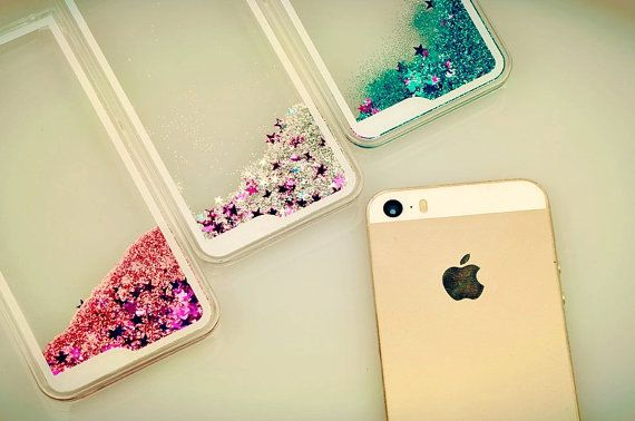 iPhone 5 6 6plus transparent Quicksand Glitter Star Case by iPase