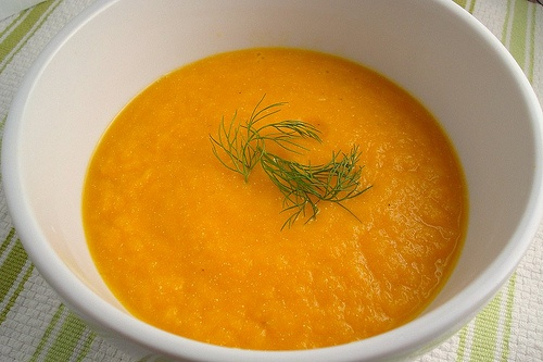 Carrot, fennel, and orange soup...hmm sounds interesting..