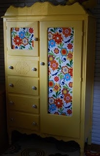 DIY: Old Furniture, Cute Ideas, Upcycled Furniture, Fabrics, Armoire, Girls Rooms, Bright Colors, Crafts, Kids Rooms