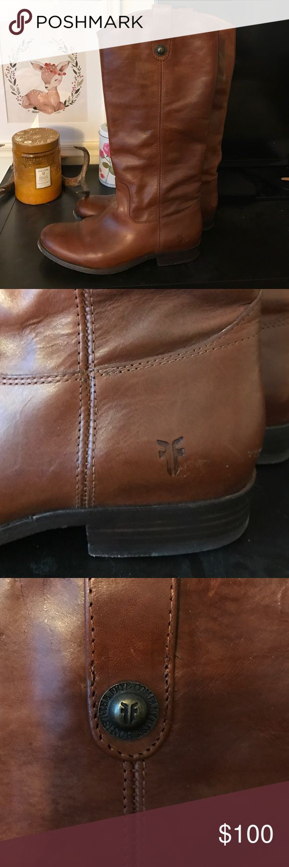 FRYE Melissa boot Authentic brown FRYE Melissa boots. Worn. No damage to leather, no scratches, treated and conditioned leather. Frye Shoes Heeled Boots